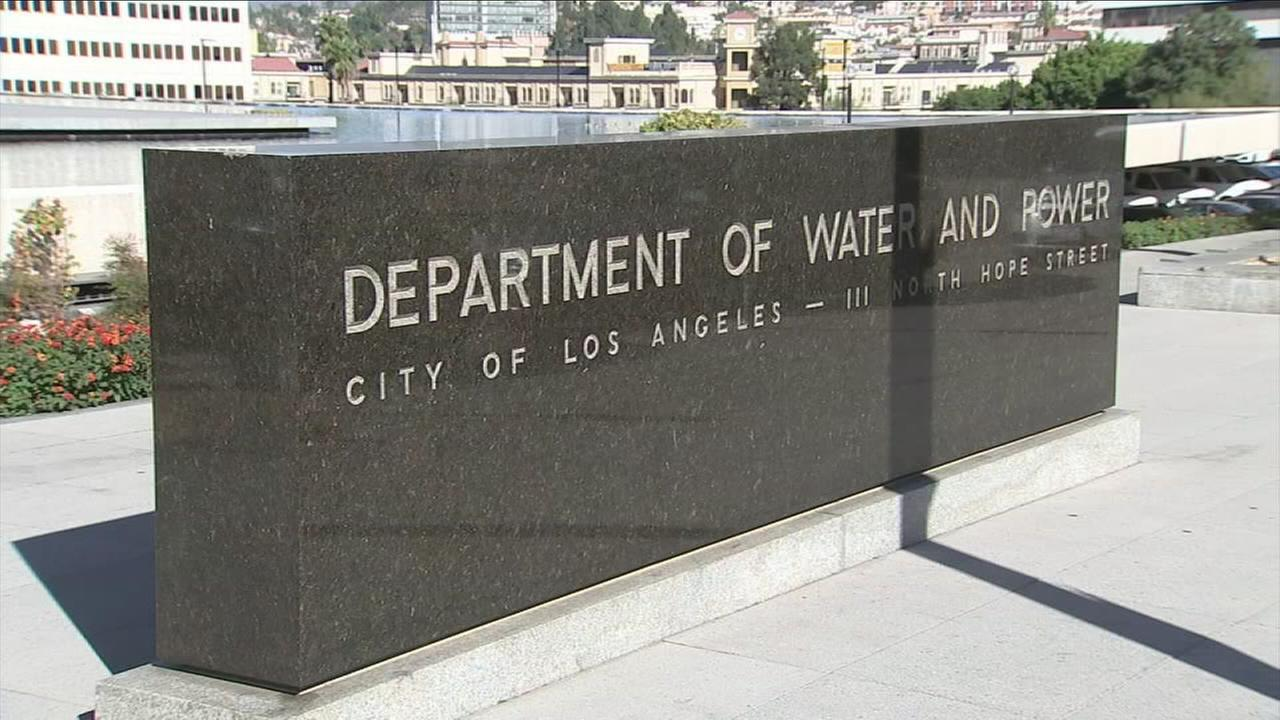 The sign for the Los Angeles Department of Water and Power is shown in a photo.