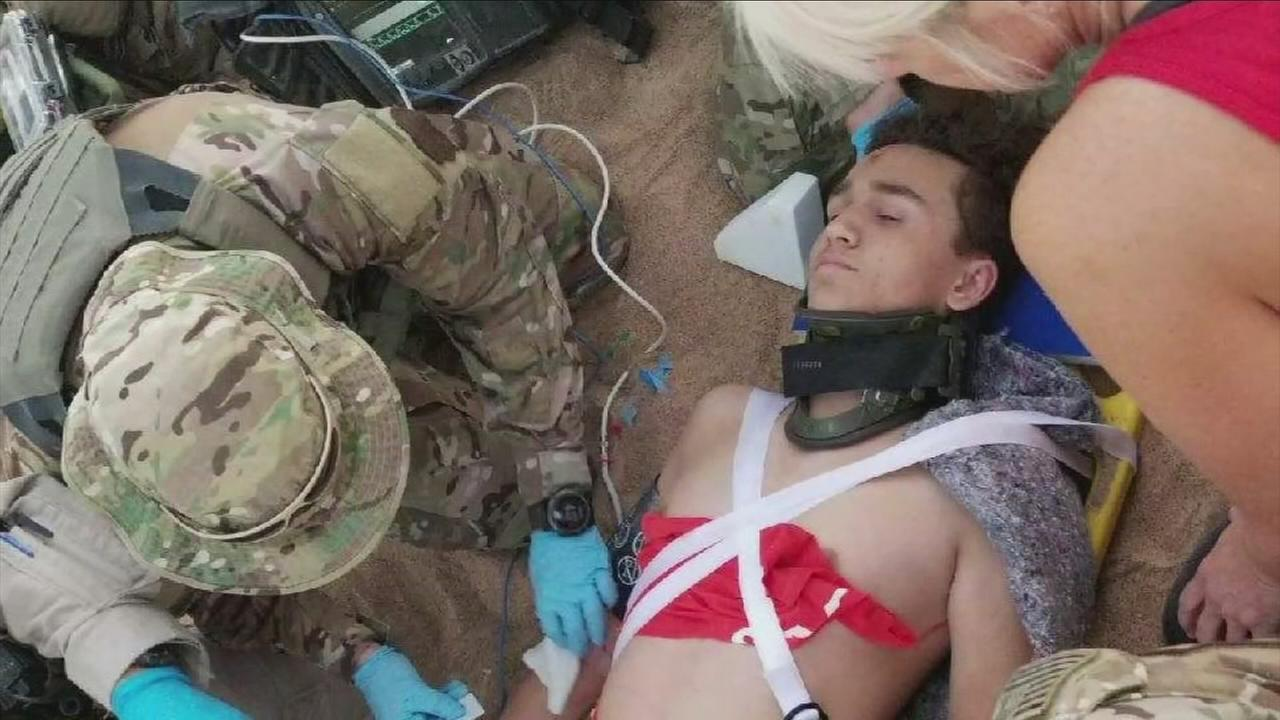 Jake Cabral, 15, is shown after he was severely injured in a dune buggy hit-and-run crash in the Imperial County sand dunes over the Thanksgiving weekend.