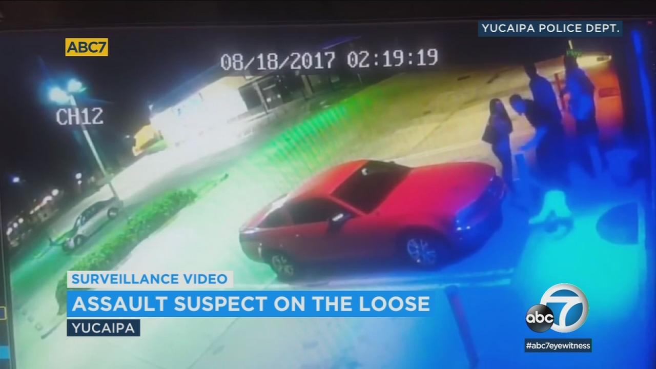 Surveillance video shows a man knocking out another man outside a Yucaipa bar in August.