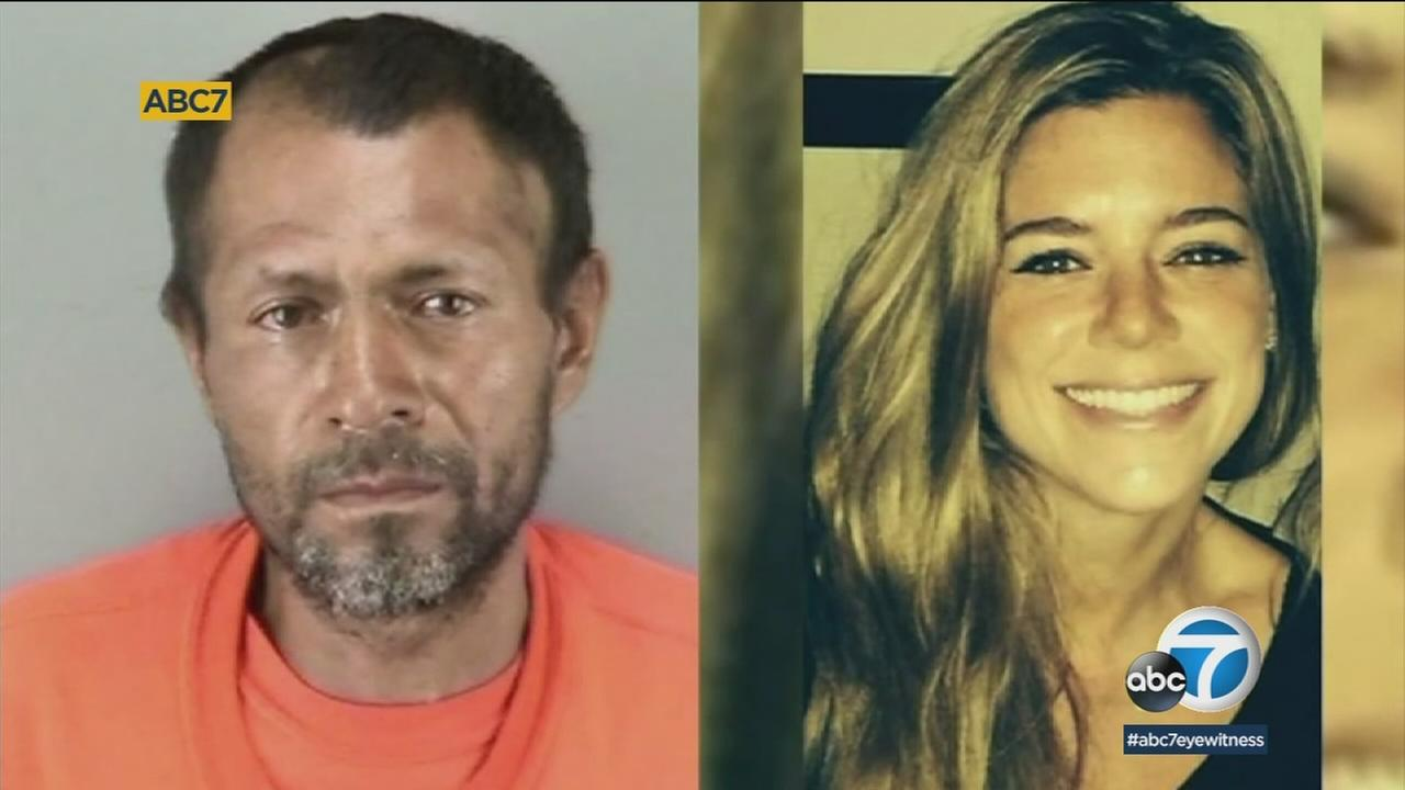 Katie Steinle, 32, is shown in a photo alongside the man who prosecutors say killed her - Jose Ines Garcia Zarate.