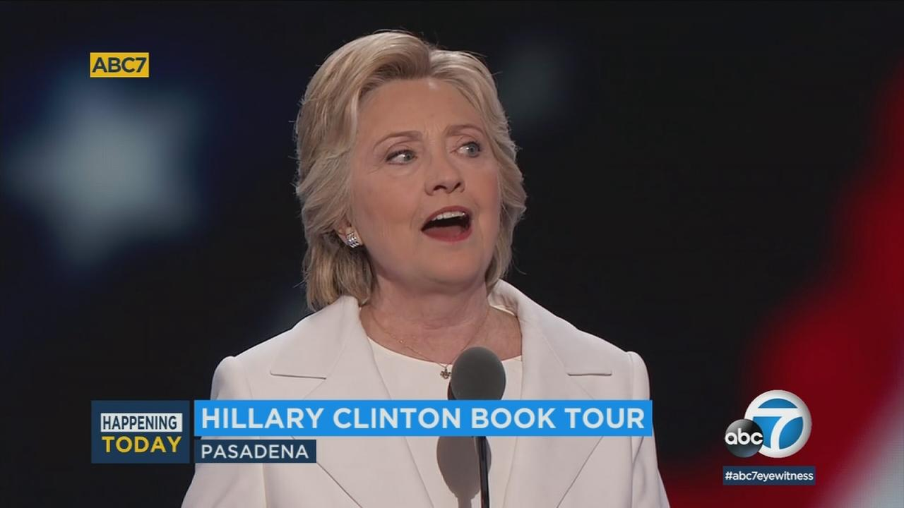 Former secretary of state and first lady Hillary Clinton is scheduled to appear at a book signing for her new memoir Friday afternoon at a bookstore in Pasadena.