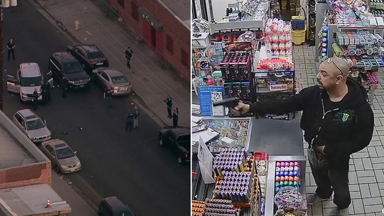 The Penny-Pincher Bandit is seen on surveillance video robbing a Woodland Hills store. Police identified him as a suspect killed in a NoHo officer-involved shooting (left).