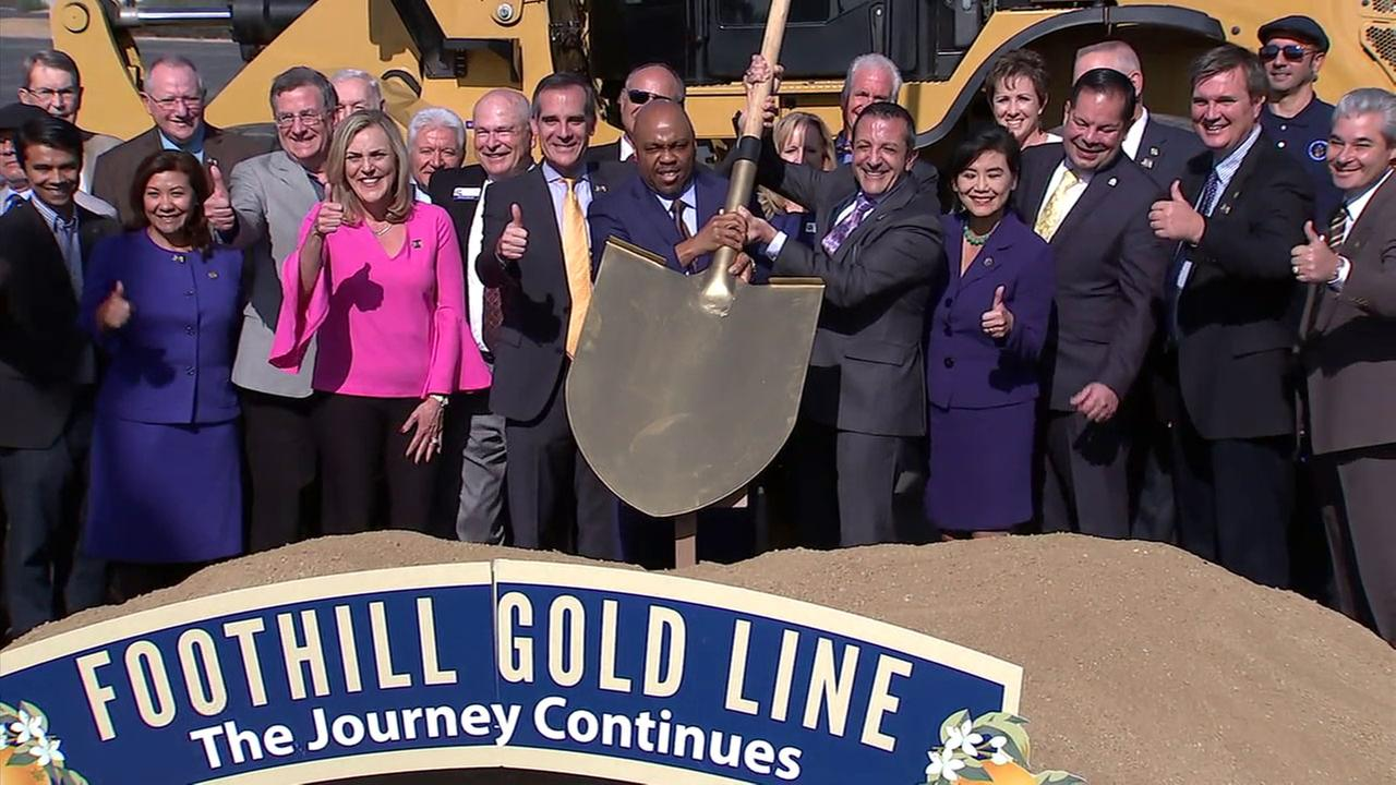 Officials break ground in Azusa on Saturday, Dec. 2, 2017, for a Metro Gold Line extension.