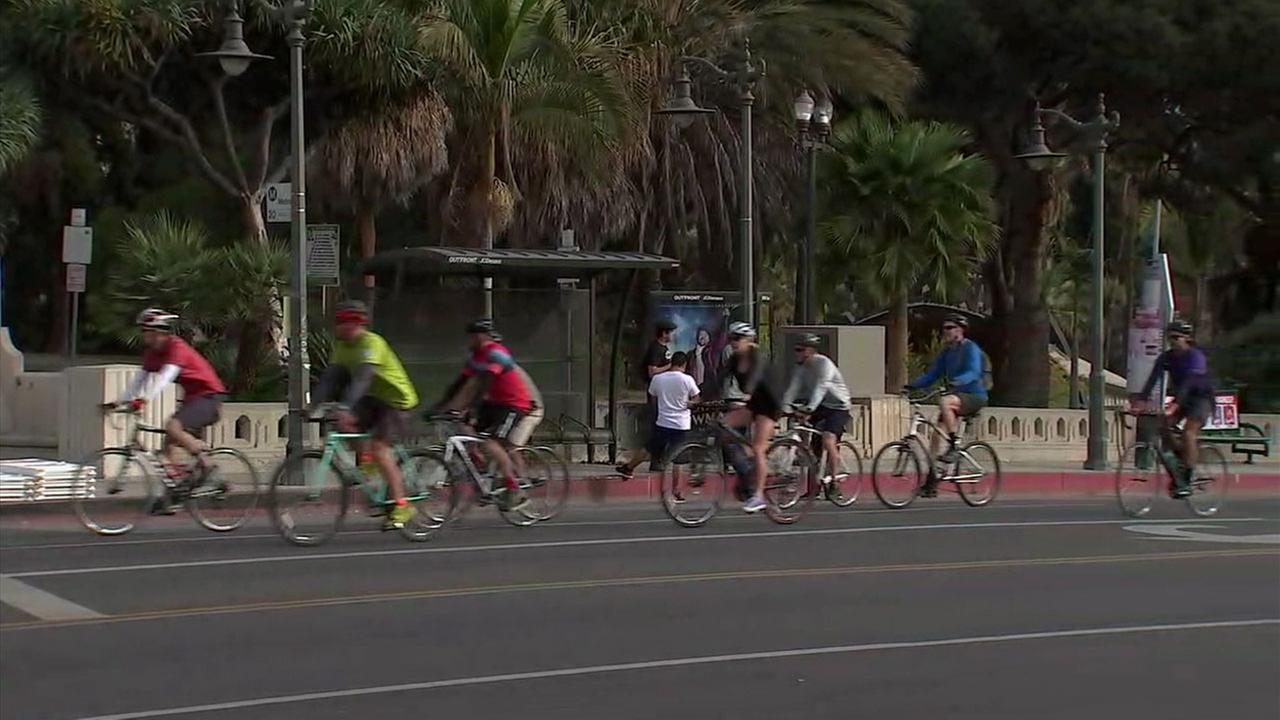 People participating in the final CicLAvia event of 2017 were seen riding their bikes in downtown Los Angeles on Sunday, Dec. 10, 2017.