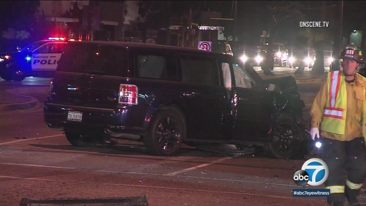 A car crash in Santa Fe Springs killed a 12-year-old boy and his father is in police custody, suspected of DUI.