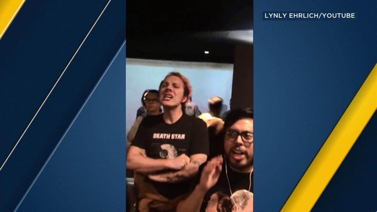 Star Wars fans are seen angry at a Burbank movie theater due to an issue during the showing of Star Wars: The Last Jedi early Friday, Dec. 15, 2017.