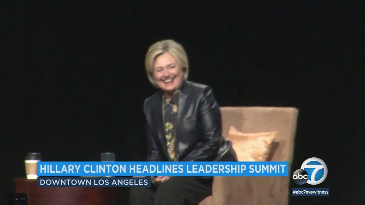 Hillary Clinton spoke at a leadership summit geared toward young women Friday at the Los Angeles Convention Center.