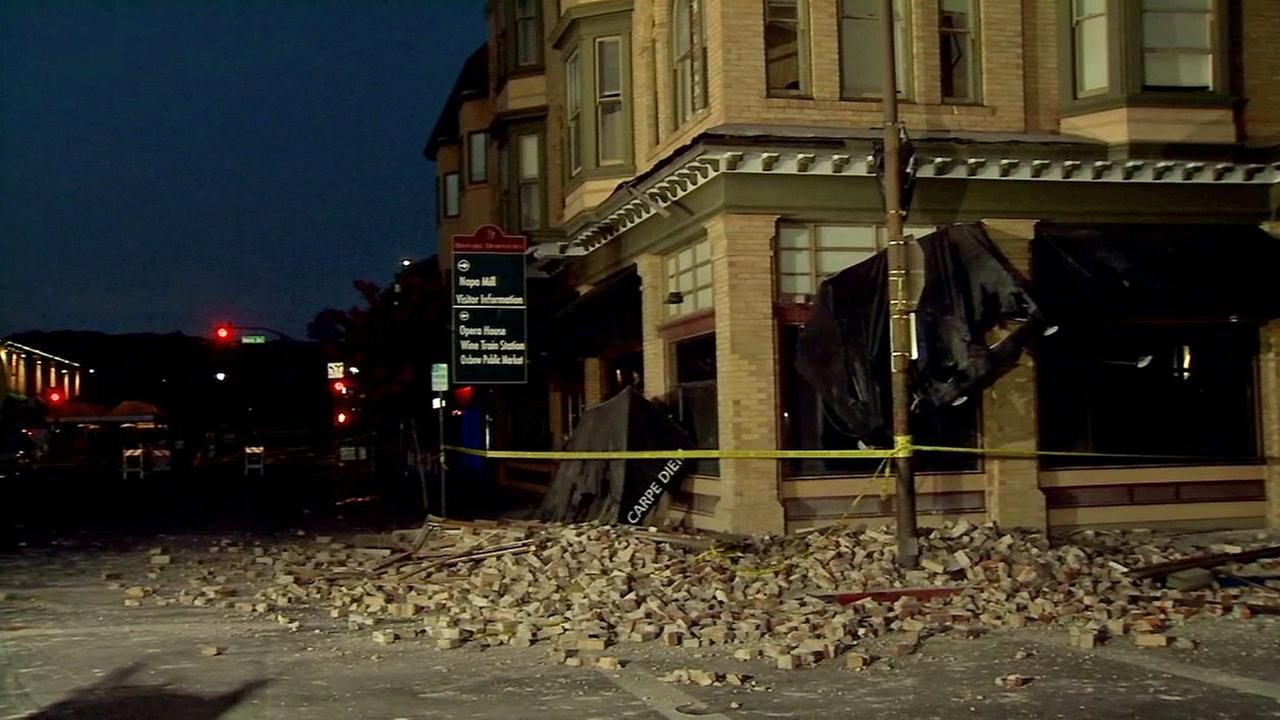 Damage to a building is seen after the Napa earthquake on Sunday, Aug. 24, 2014.