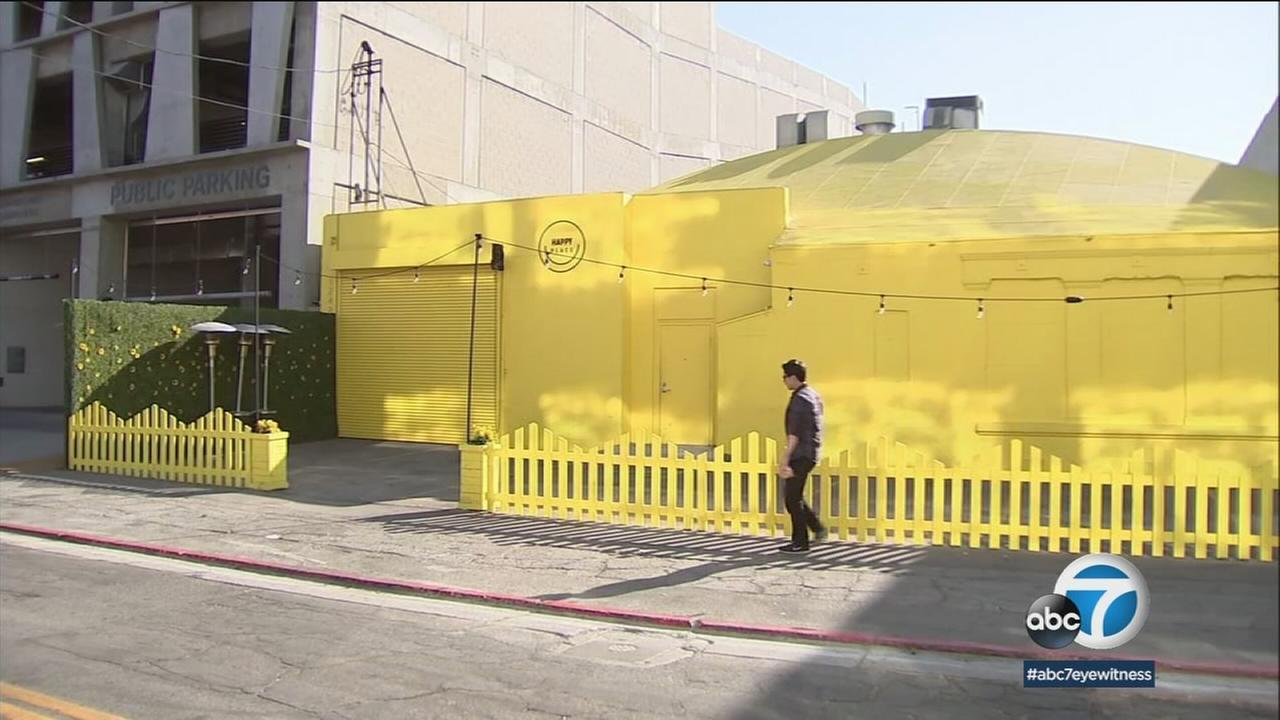 The shuttered area of Happy Place in downtown Los Angeles is shown in a photo.