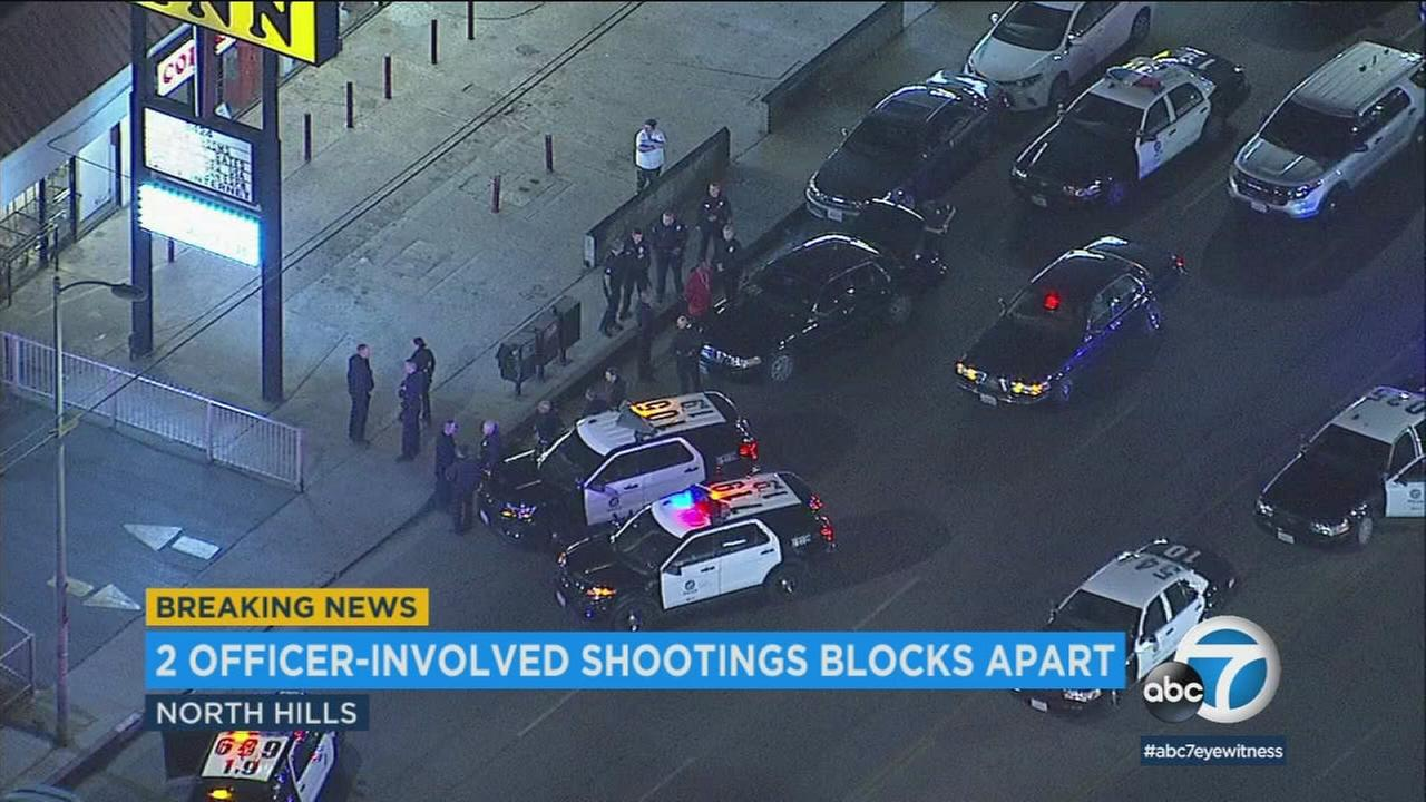 A suspect was wounded in the stomach in the second of two separate officer-involved shootings in North Hills, authorities said.