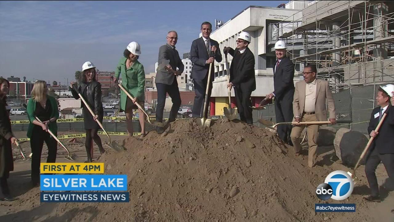 Mayor Eric Garcetti and other city officials did a symbolic groundbreaking at the site of an affordable housing complex that was created with Prop HHH money.