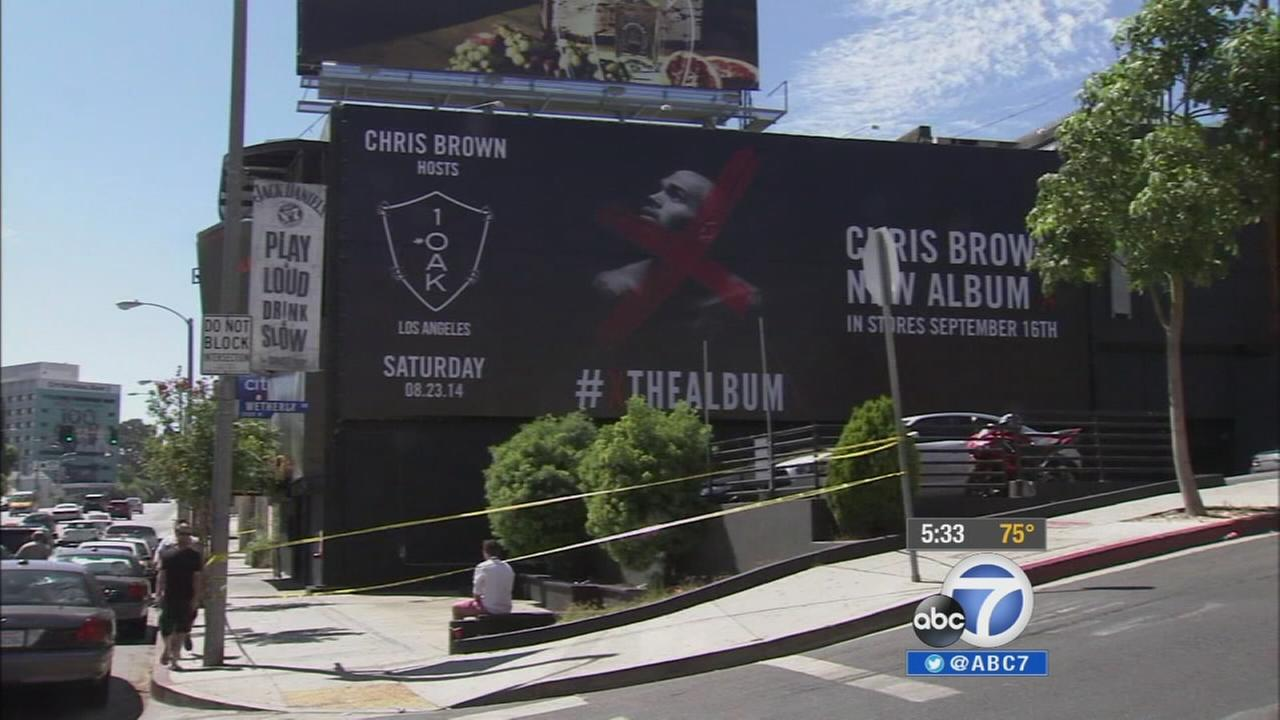 A billboard advertises Chris Browns MTV Video Music Awards pre-party at 1OAK nighclub in West Hollywood.