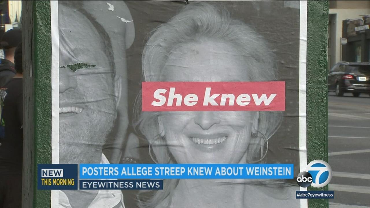 One of several posters show the words she knew written over a photo of actress Meryl Streep.