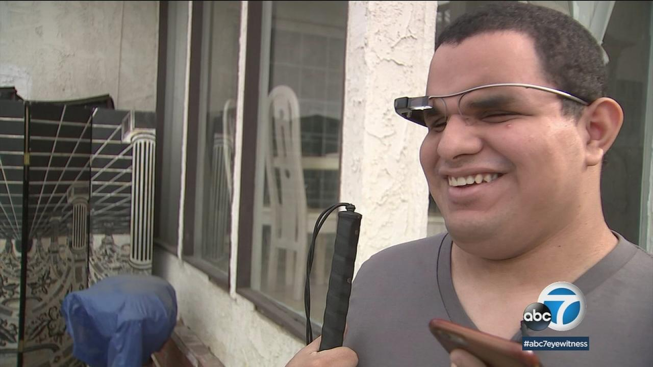 The Aira system lets Steven Cantos, who is blind, livestream his grandmothers West Covina home to a guide who can describe the scene by phone.