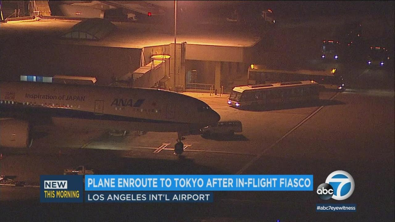 A plane bound for Tokyo Tuesday, Dec. 26, 2017, is at Los Angeles International Airport after an unauthorized person was discovered aboard in an apparent mix-up.