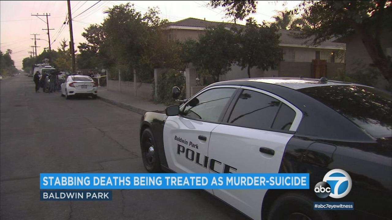 The stabbing deaths of a man and woman at a Baldwin Park home appear to be a murder-suicide involving a married couple, deputies said Wednesday.