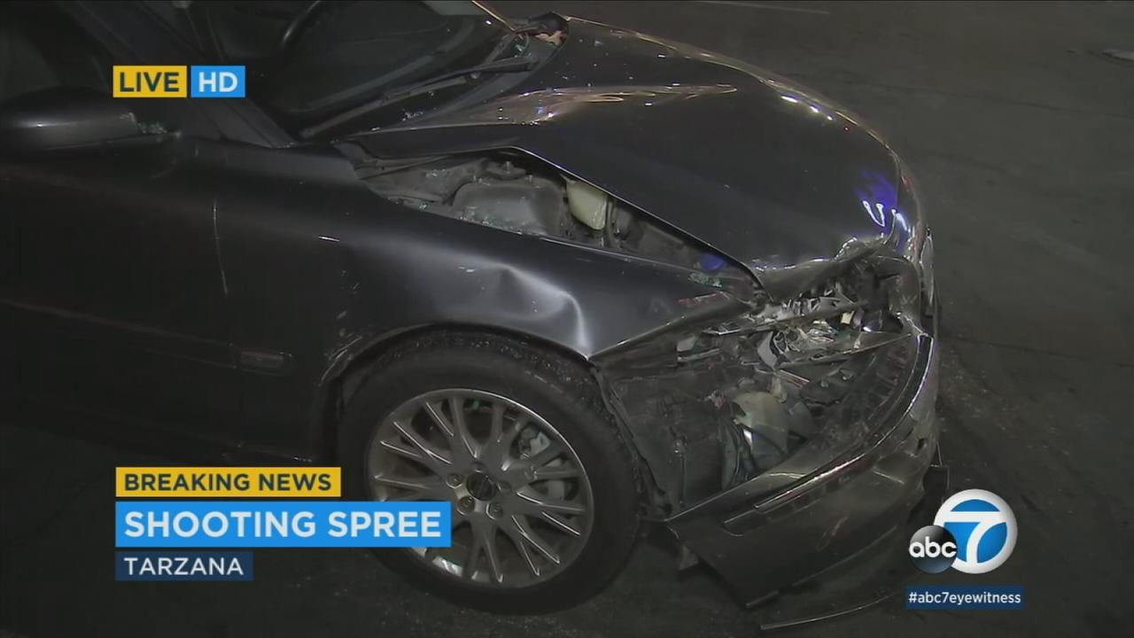 A womans car was damaged when she collided with another vehicle following a shooting in Tarzana.