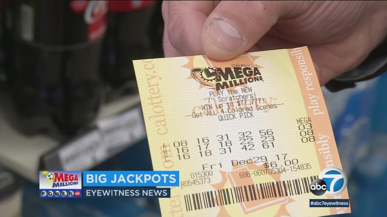 A Mega Millions lottery ticket is shown in a photo.