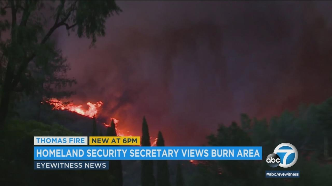 A previous image of the Thomas Fire burning through dry brush in between Ventura and Santa Barbara counties is shown.
