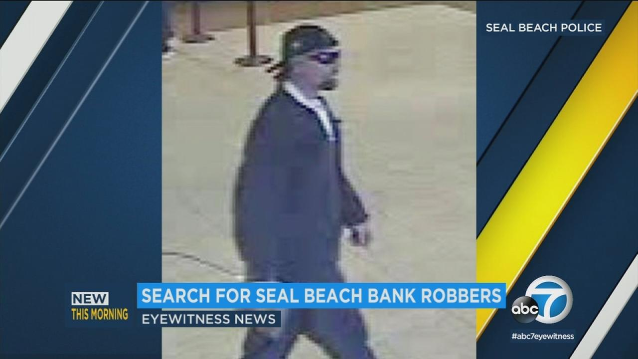 Two men in their 20s are being sought after an armed robbery that occurred Tuesday, Jan. 2, 2017, at a bank in Seal Beach, authorities said.