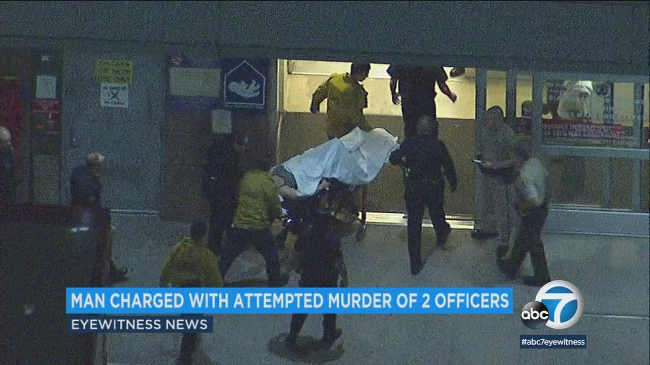 Police have arrested a man they say fired a semiautomatic gun at two Los Angeles police officers, striking and wounding one.