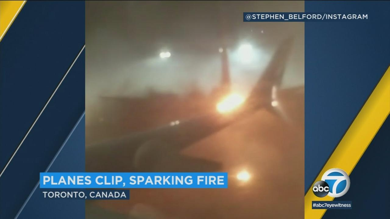 An image captures two planes colliding at a Canadian airport.