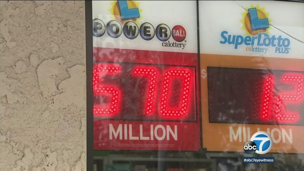 The amount of a Powerball jackpot is seen on a digital sign at a 7-Eleven in Chino Hills on Saturday, Jan. 6, 2018.