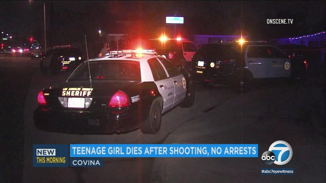 A 15-year-old girl died Sunday, Jan. 7, 2018, after being shot in the head the previous evening in Covina, authorities said.
