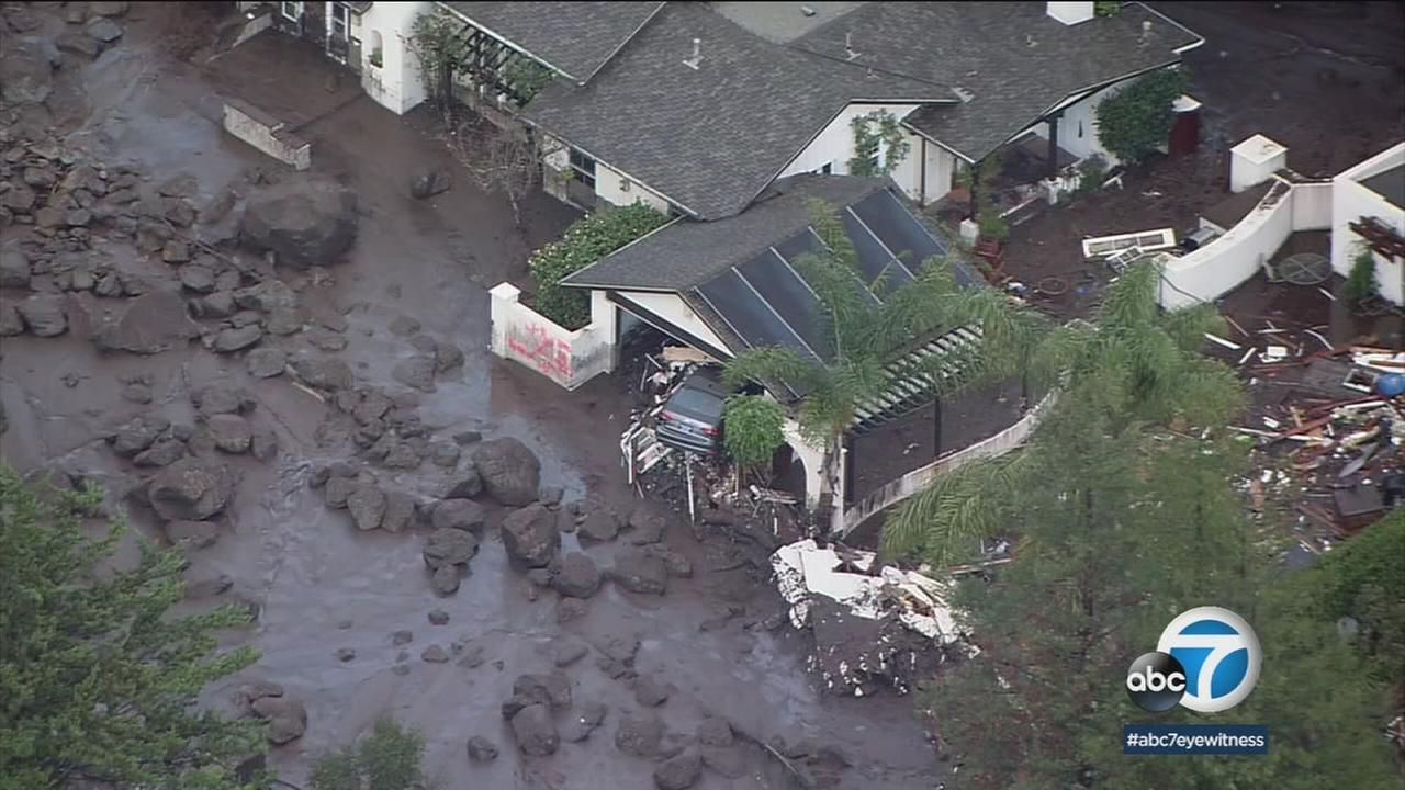 A home buried in mud and debris was shown as was a vehicle that was thrown around in its garage in Montecito on Tuesday, Jan. 9, 2018.