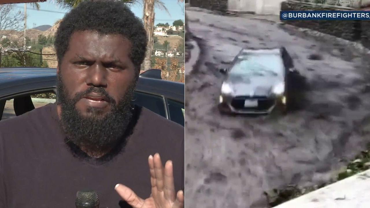 Desionne Franklin and his girlfriend were in his Prius when a river of mud picked up the car and swept it down the Burbank road like a bobsled.