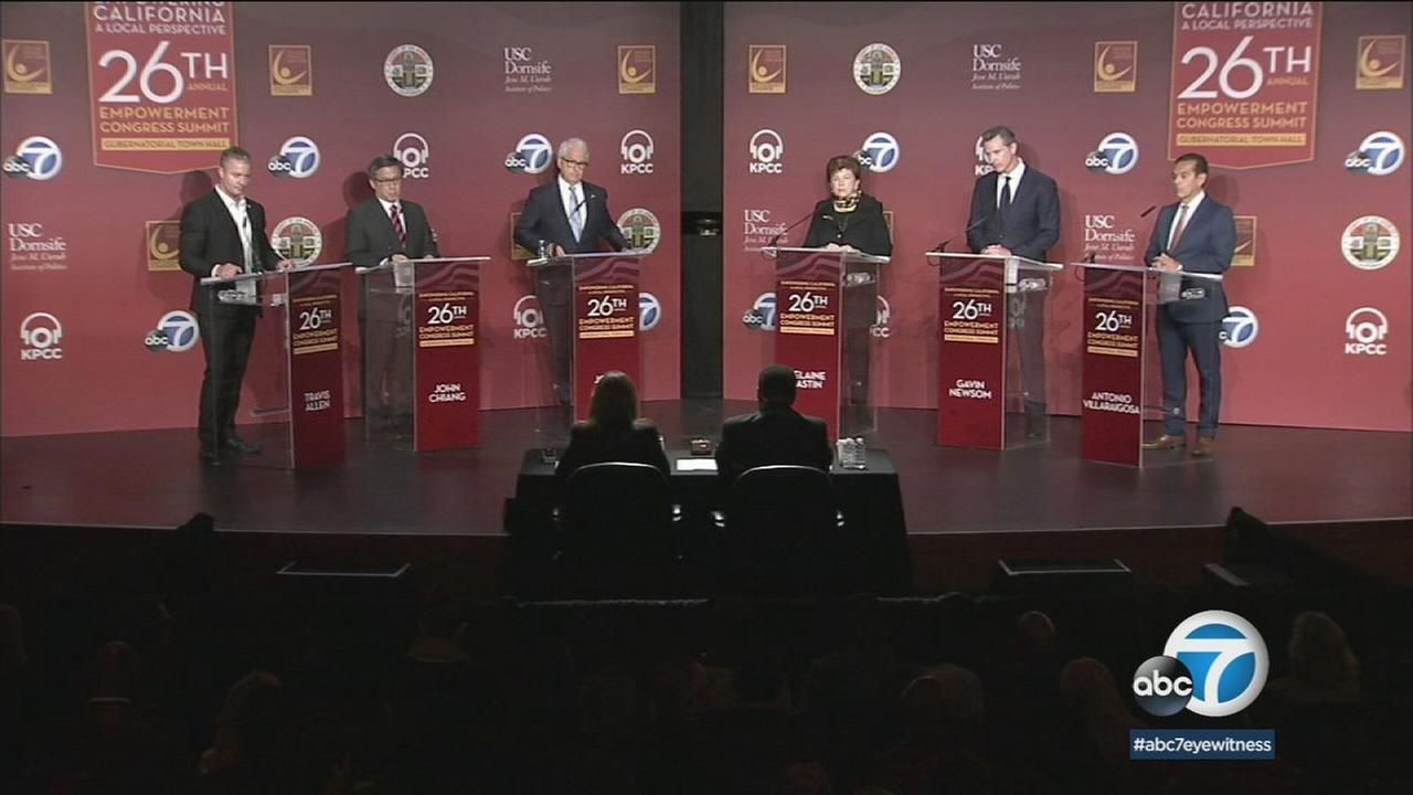 Many of the governor of California candidates are shown during the debate at USC on Saturday, Jan. 13, 2018.