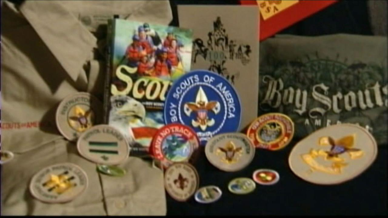 An undated photo of Boy Scouts badges.