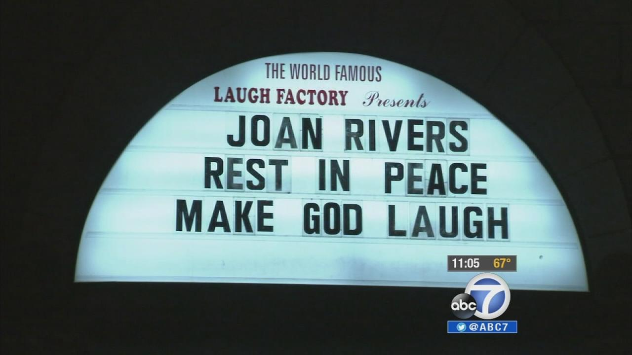 The sign outside The Laugh Factor after the death of Joan Rivers was announced on Thursday, Sept. 4, 2014.