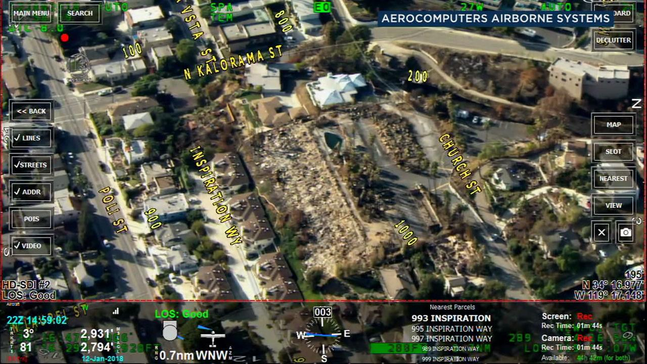 An aerial map shows the devastation in Montecito before and after the massive mudslide.