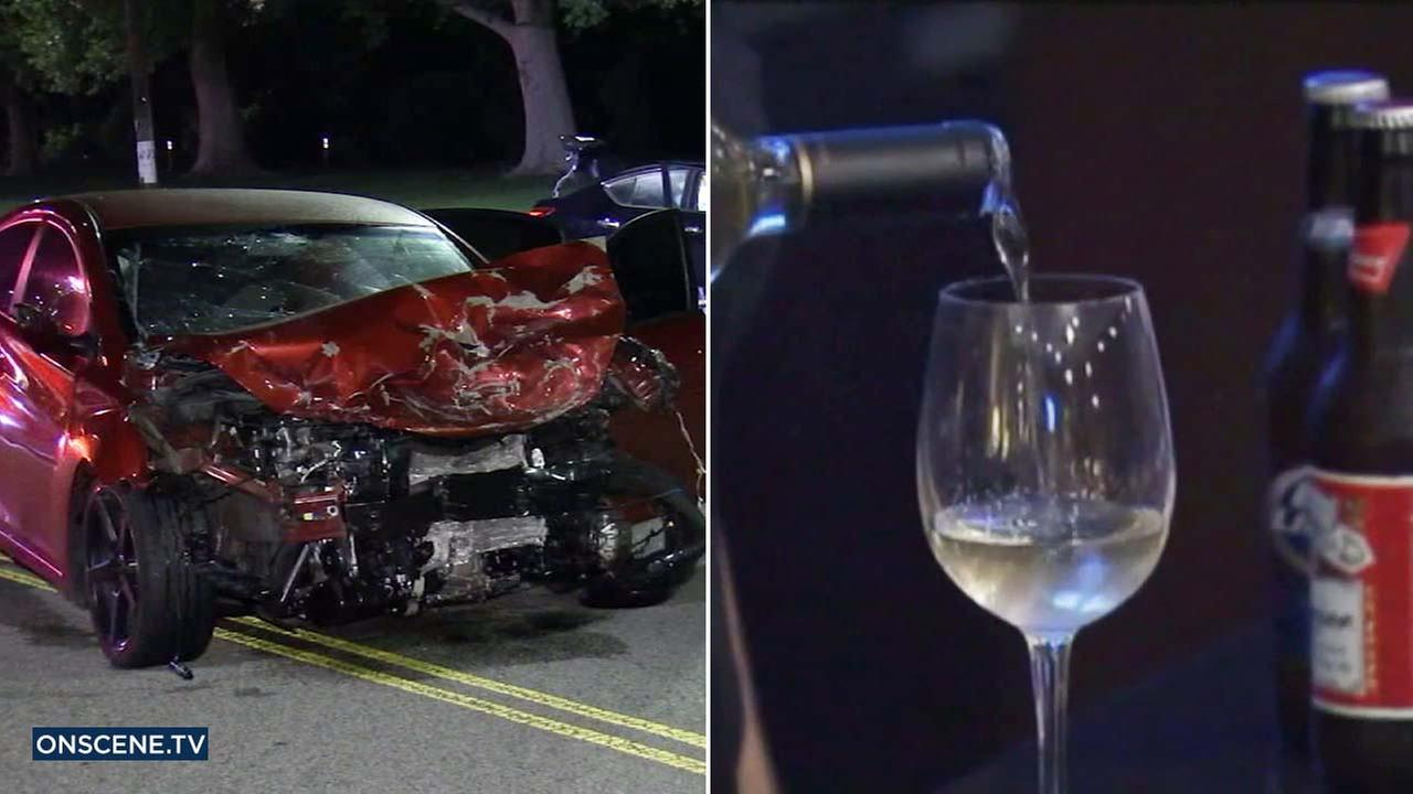 (Left) A wrecked car is seen in a file photo. (Right) Wine is poured into a glass in an undated file photo.