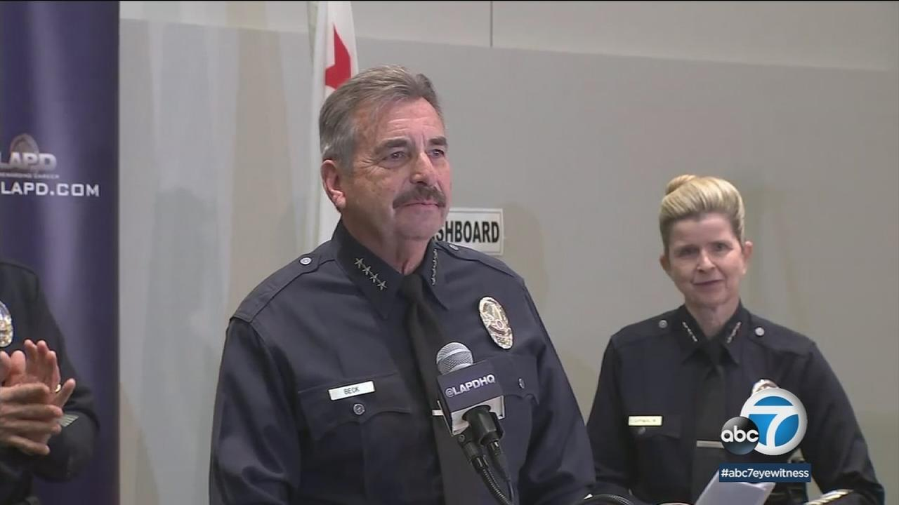 LAPD Chief Charlie Beck seen emotional as he announces his retirement during a press conference on Friday, Jan. 19, 2018.