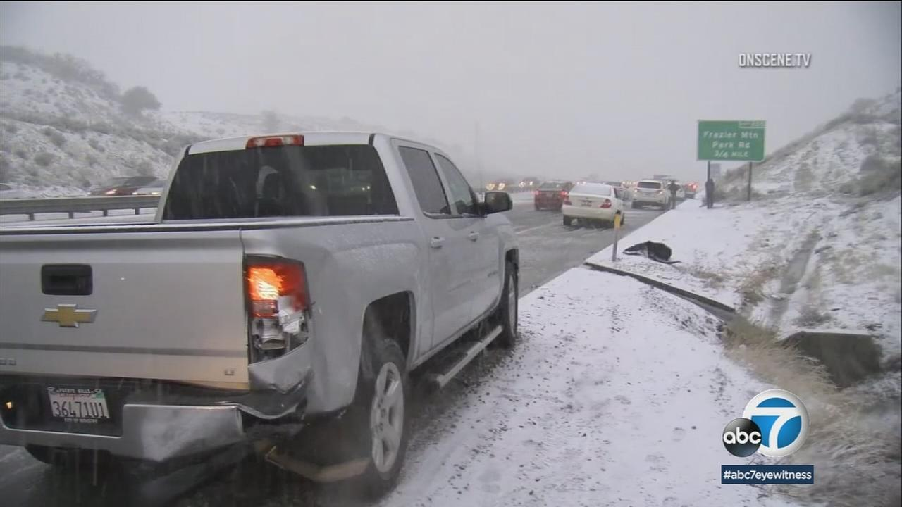 Old stringer footage shows snow on the grapevine during a cold winter in Southern California.