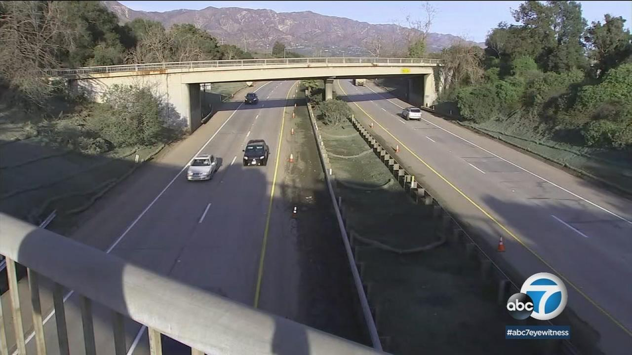 The 101 Freeway is shown after it reopened Sunday in Montecito, where a deadly mudslide closed it for nearly two weeks.