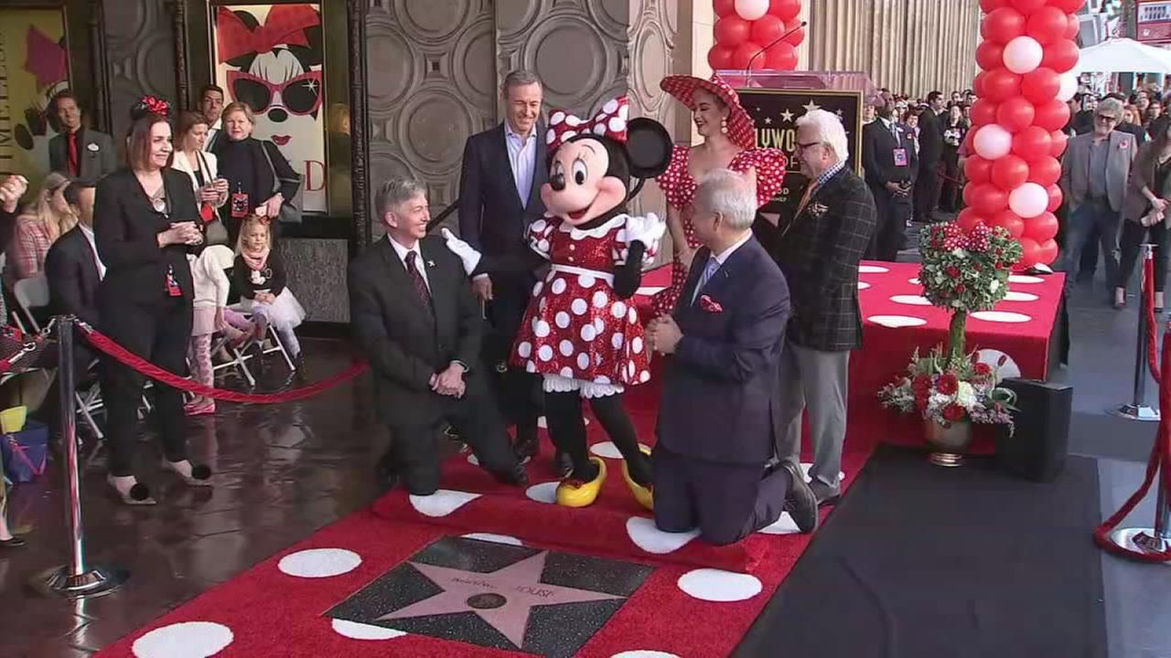 Minnie Mouse receives a star on the Hollywood Walk of Fame on Monday, Jan. 22, 2018.