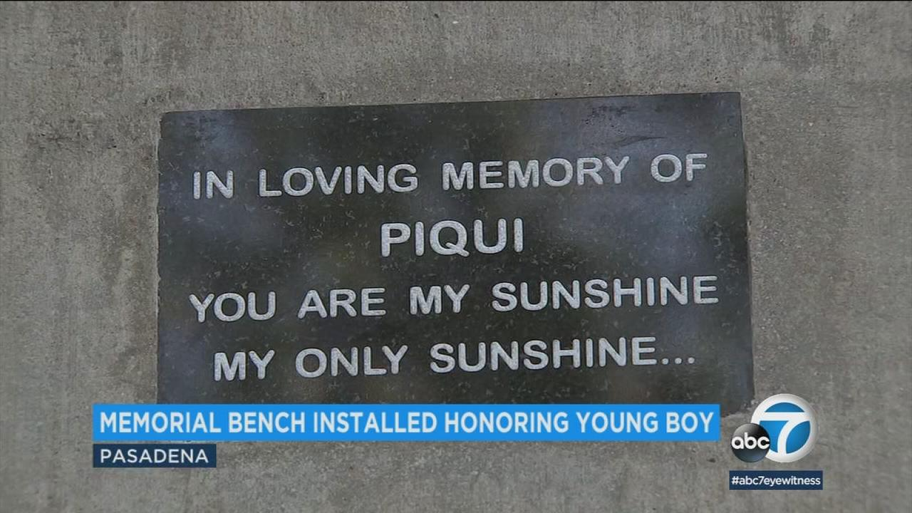 A plaque on a bench that was installed at a South Pasadena park on Monday, Jan. 22, 2018.