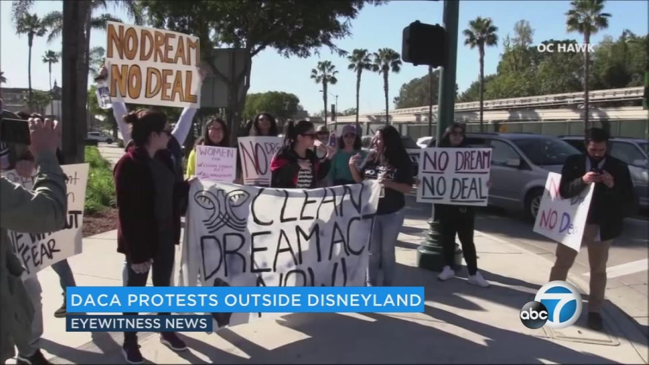Protesters in support of DACA descended on Disneyland Monday, temporarily blocking a vehicle entrance to the park.