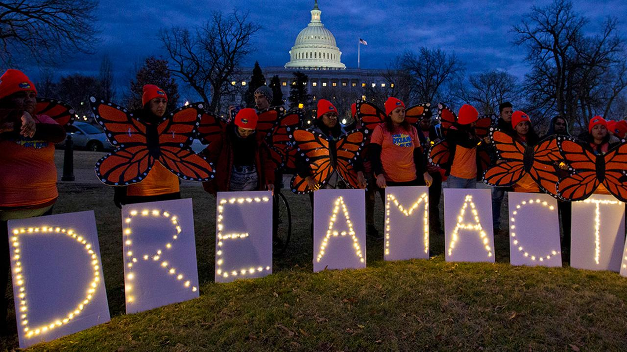 Demonstrators rally in support of Deferred Action for Childhood Arrivals (DACA) outside the Capitol, Sunday, Jan. 21, 2018, in Washington.
