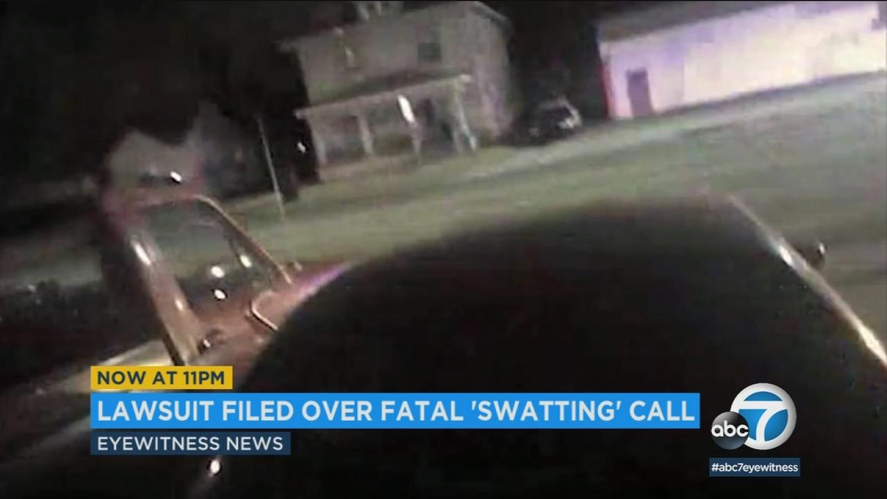 A still image shows the scene in Wichita, where a swatting call ended in a fatal police shooting.