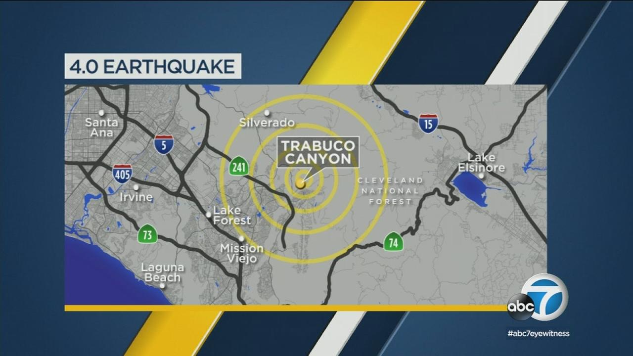 A map shows a 4.0 earthquake that struck the Trabuco Canyon area around 2 a.m. Thursday, Jan. 25, 2018.