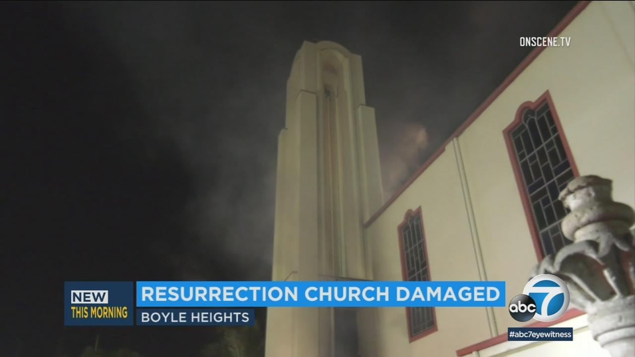 A Boyle Heights church seen up in smoke after catching fire on Thursday, Jan. 25, 2018.