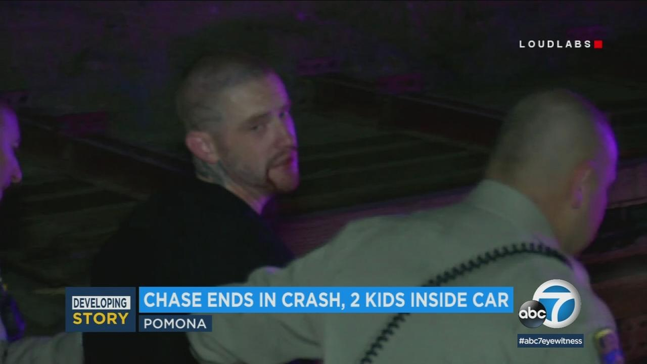 A 28-year-old kidnapping suspect was taken into custody and his girlfriends two children were found safe early Saturday morning after a high-speed chase ended in Pomona.