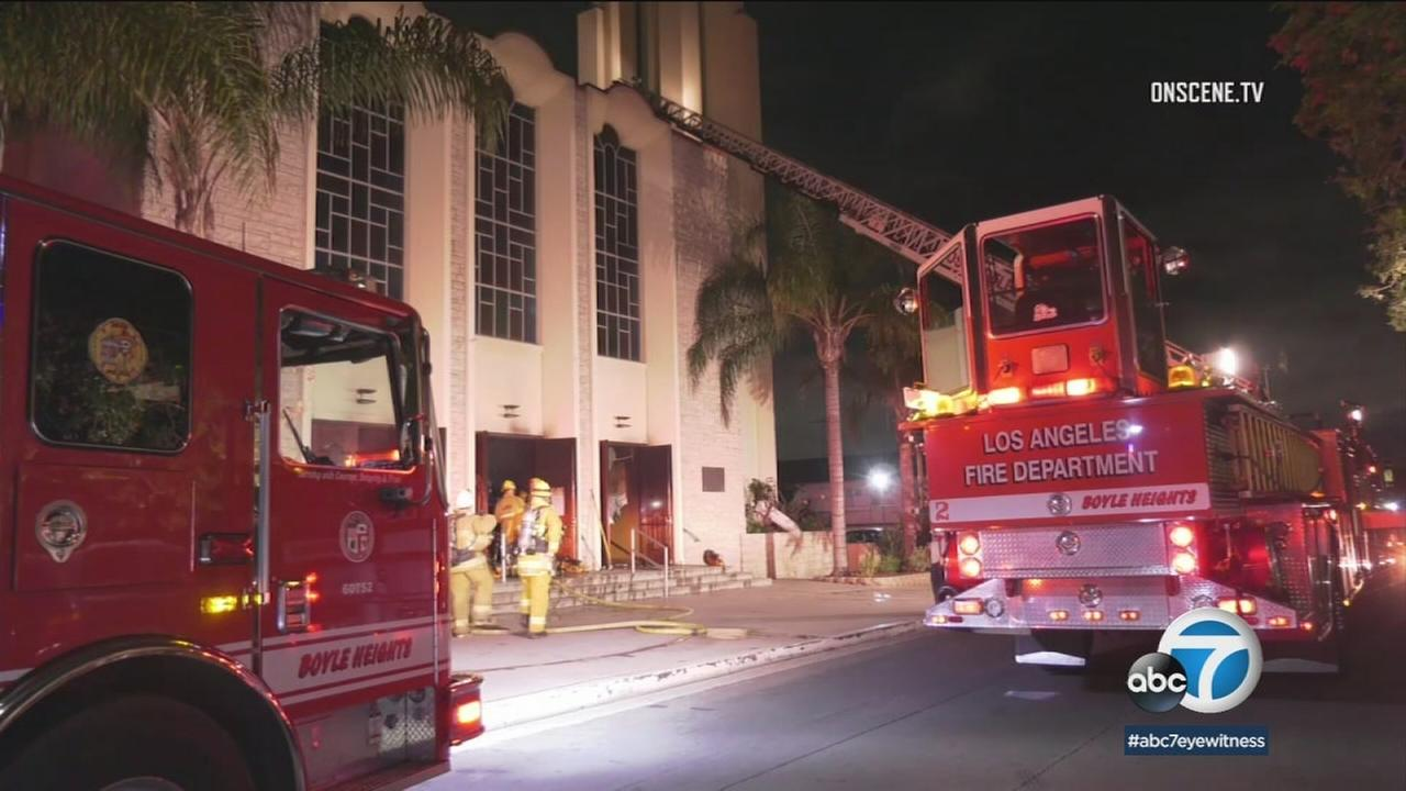 Authorities put out a fire at a church in Boyle Heights after a suspect set it on fire overnight.