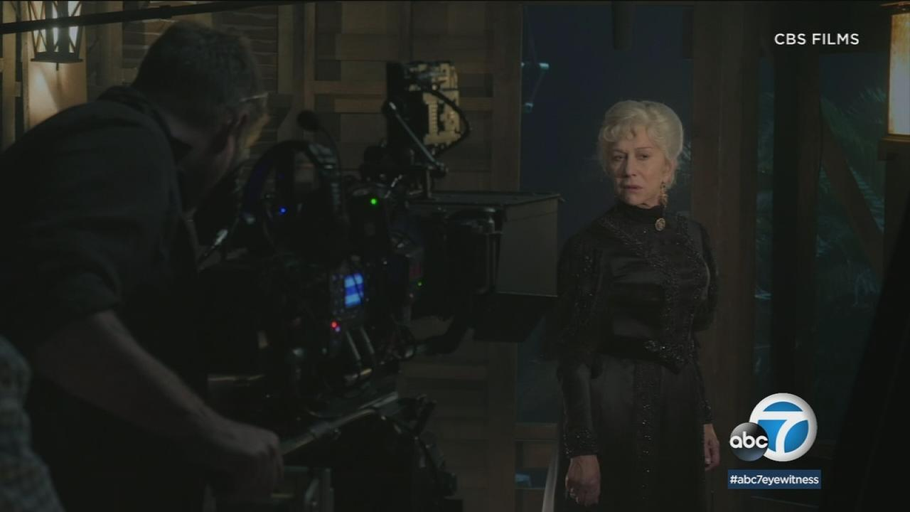 Actress Helen Mirren is shown during the filming of her newest movie Winchester.