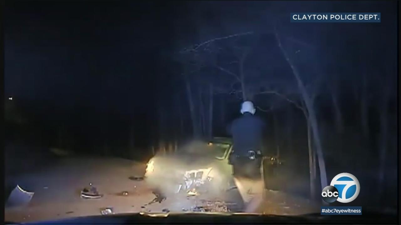 Dashcam video shows a suspect on the ground after he tried to attack a Georgia officer.