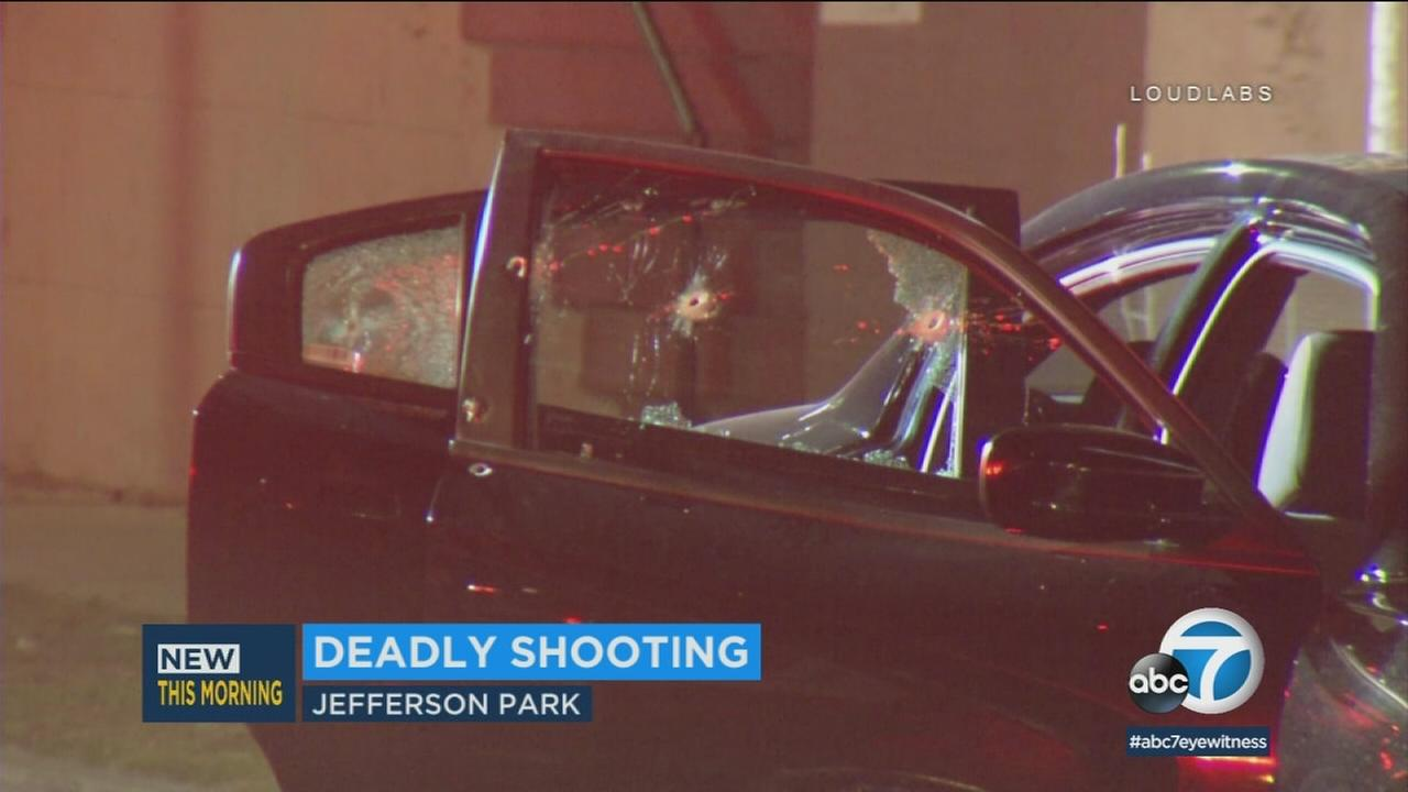 A car is riddled with bullets in Jefferson Park after a shooting that left a man dead on Saturday, Feb. 3, 2018.